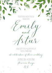 Wedding floral greenery invitation, invite, save the date card vector design. Rustic, natural, modern style, hand drawn watercolor botanical falling reen leaves, forest tree branches, herbs decoration