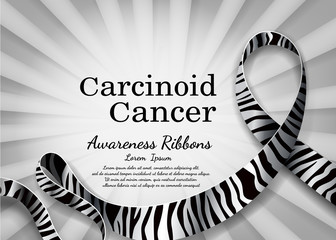Carcinoid cancer awareness ribbon and line ribbon black and white