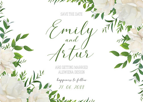 Wedding floral invite, invitation, save the date card design. White powder garden peony rose flowers, greenery leaves, eucalyptus branches, forest herbs romantic frame decoration. Elegant art template
