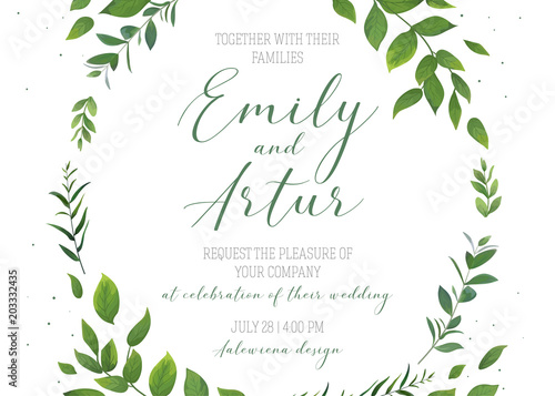 wedding floral invitation invite save the date card vector