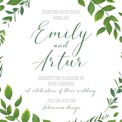 Wedding floral greenery invitation, invite, save the date card vector art template design. Rustic, natural style hand drawn watercolor botanical green leaves, forest tree branches, herbs elegant frame