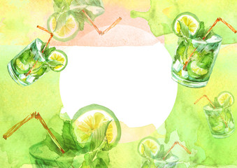 Watercolor drawing - cocktail of fruits, circe, lemon slice, lime, mint, ice. Cool drink with ice. Watercolor card, greeting card of green, yellow, abstract spot. Splash, bright streaks of paint.