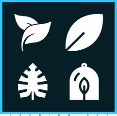 Set of 4 leaf filled icons