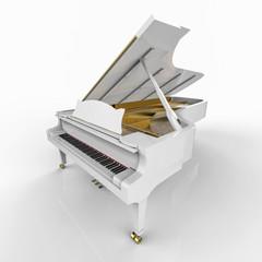 white piano in a white background