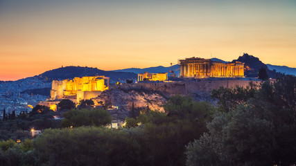 Acropolis of Athens, Greece at summer sunrise