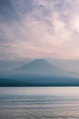 Mountain Fuji with reflection at Lake Yamanakako in sunset