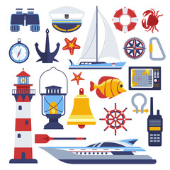 Marine and nautical vector flat icons