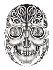 Art Celtic mix Surreal Skull Tattoo. Hand pencil drawing on paper.