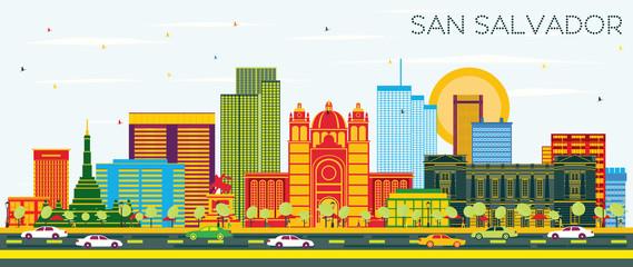 San Salvador City Skyline with Color Buildings and Blue Sky.