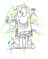 Happy book cartoon character outlined