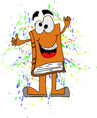 Happy book cartoon character