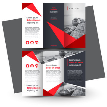Brochure design template, creative tri-fold, trend brochure, red color
