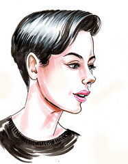 Ink and colored pen drawing, of a pretty woman with a short haircut
