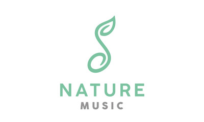 Music Notes and Soybean Seed Soil Sprout Plant Leaf Nature Logo design