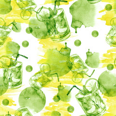 Seamless watercolor pattern with a drink, cocktail with lemon, ice, mojito, smoothies. Fruit lemon, mint leaf. Green pattern, with a yellow splash of abstract spots.