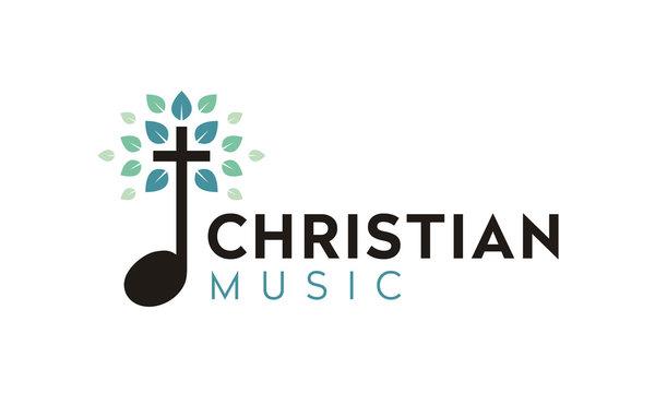 Gospel Music Choir Church with Leaf Nature Christian Catholic Cross logo design
