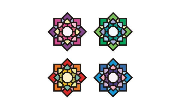 Islamic Asian Stained Glass Pattern Mosaic symbol logo design