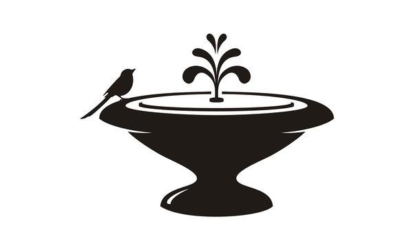 Bird and Fountain Garden Decoration Logo design