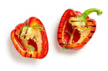 grilled paprika on white background