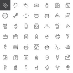 Take away food outline icons set. linear style symbols collection, line signs pack. vector graphics. Set includes icons as Hot dog, Taco, Shawarma, Burger, French fries, Pizza, Sushi, Soup, Noodles