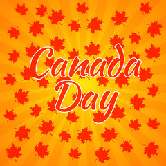 Canada Day. Orange background, rays from the center, red maple leaves