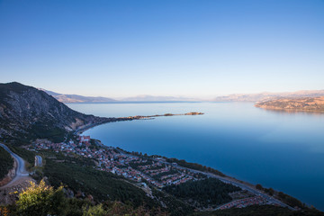 aerial view of beautiful harbour with calm water and town on coast, egirdir, turkey