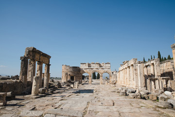 beautiful ancient architecture with columns and ruins in hierapolis, turkey