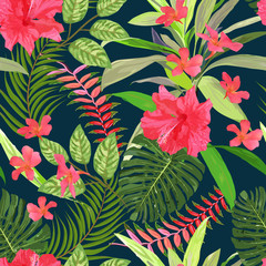 Floral seamless pattern. Background with isolated colorful hand