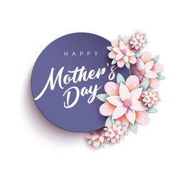 Happy Mother's Day Calligraphy with flower Background.Vector.