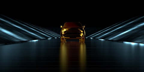 3d rendering of a golden car inside a futuristic road with dark background