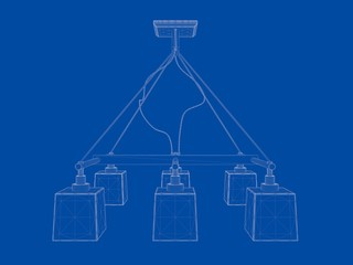 3d rendering of a blueprint lamp light holder isolate on a blue background