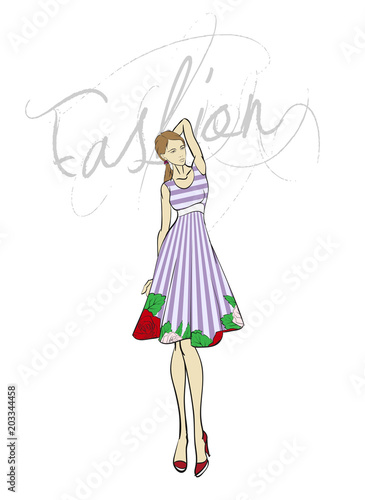 Drawings of girls stylish. Fashion illustration model girl