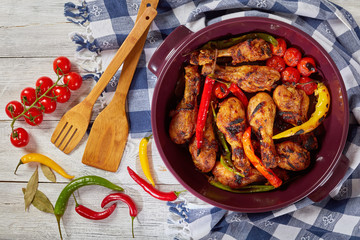grilled chicken drumsticks with chili peppers