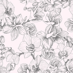 Seamless pattern. Hand drawn outline bouquet with orchid and plumeria. Highly detailed vector illustration. Beautiful exotic flower. Cymbidium for your logo, composition, design.