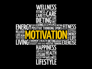 MOTIVATION cross word cloud collage, health concept background