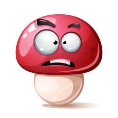 Funny, cute, crazy cartoon mushroom illustration Vector eps 10