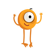 Cute cartoon one eyed yellow monster character with funny face vector Illustration on a white background