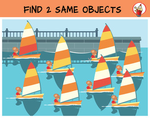 Find two same yachts in the picture. Educational game for children. Cartoon vector illustration