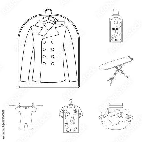 Dry Cleaning Equipment Outline Icons In Set Collection For Design