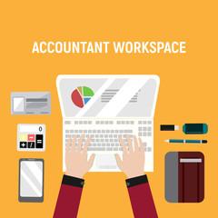 Accountant Workspace Desk Illustration