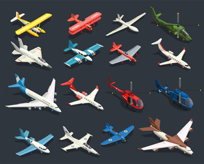 Airplanes Helicopters Isometric Icons