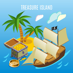 Treasure Island Isometric Game Background