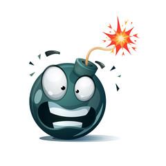 Cartoon bomb, fuse, wick, spark icon Disgust smiley Vector eps 10