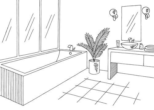 Bathroom graphic home interior black white sketch illustration vector