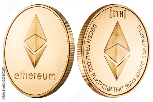 Physical ethereum coin on white background  Cryptocurrency