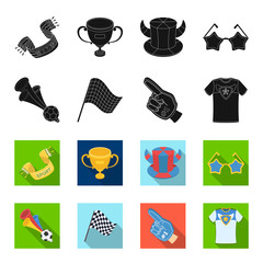 Pipe, uniform and other attributes of the fans.Fans set collection icons in black,flet style vector symbol stock illustration web.