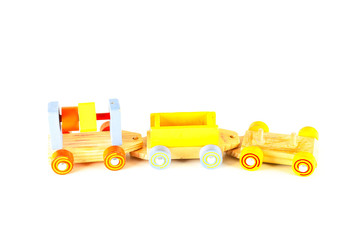 Close-up of wooden toy trainisolated, play, game, wood, train, childhood, baby, toys, red, colorful, yellow, color, locomotive, engine, toy