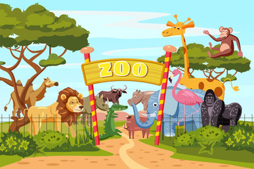 Zoo entrance gates cartoon poster with elephant giraffe lion safari animals and visitors on territory vector illustration, cartoon style, isolated