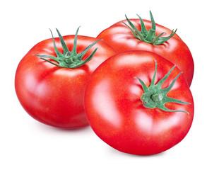 Three ripe red tomatoes. Macro. Studio picture.