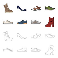 A set of icons on a variety of shoes.Different shoes single icon in cartoon,outline style vector web symbol stock illustration.